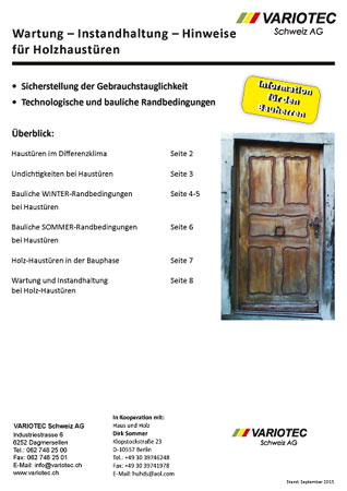 Variotec Merkblatt Türen