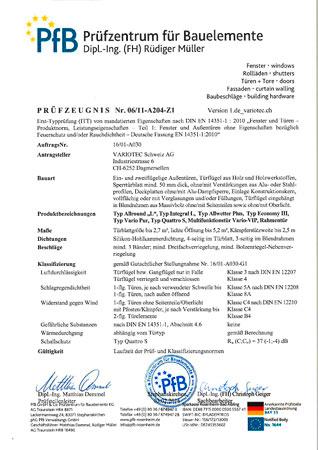 Variotec Zertifikate ITT Tuerrohlinge