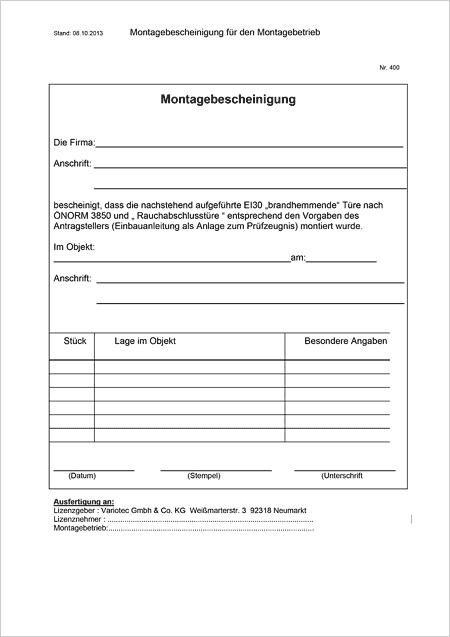 Montagebescheinigung, Register-10
