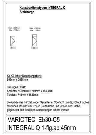 Variotec-Übersicht Brandschutz EI30-Integral Q 1-flüglig, Stahl
