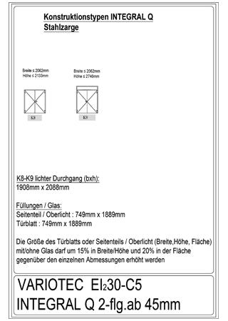Variotec-Übersicht Brandschutz EI30-Integral Q 2-flüglig, Stahl