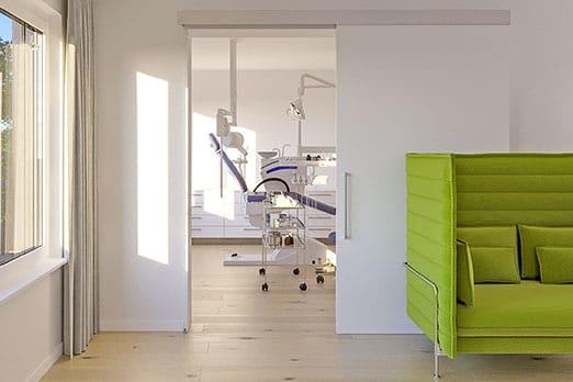 Bild Variotec Schallschutztür Hawa-Suono in Zahnarztpraxis – Wartezimmer