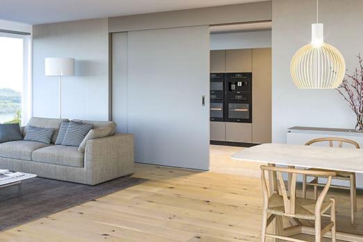 Bild Variotec-Schiebetür Hawa-Suono für Trennung Küche-Wohnen